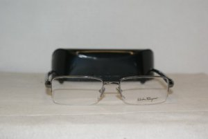 New Salvatore Ferragamo Shiny Gunmetal Eyeglasses: Mod. 1875 (502) 52-18 & Case