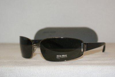 Brand New Miu Miu Gunmetal Sunglasses: Mod. SMU 50D (1BV-1A1) 70-15 & Case