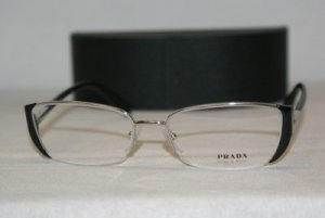 Brand New Prada Silver & Black Eyeglasses: Mod. VPR 60N (2BB-1O1) 52-17 & Case