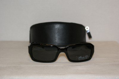 Brand New Kenneth Cole Shiny Black Sunglasses: Mod. 4117 (0B5) 55-18 & Case