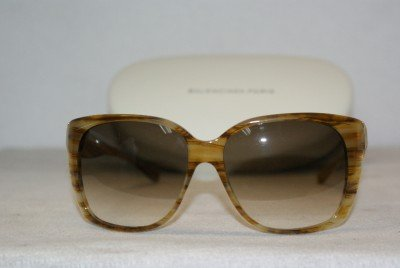 Brand New Balenciaga Olive Horn Sunglasses: Mod. 0081 (7Q1) 58-15 & Case