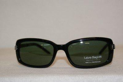New Laura Biagiotti 85373 Shiny Black 118 Sunglasses: Mod. 85373 55-18 & Case