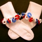 Girls Beaded Socks - white socks with fun beads by Daisy