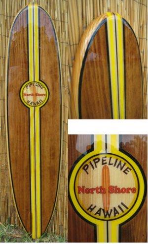 6ft Old School Hawaiian Pipeline Decorative Surfboard Wall Art