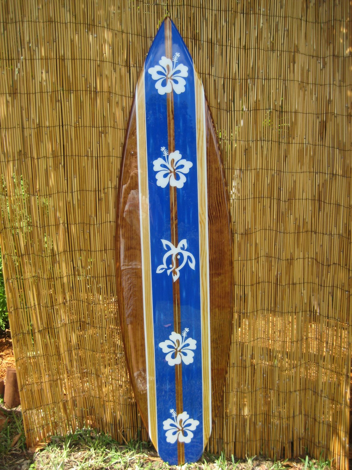5ft Decorative Turtle Hibiscus Surfboard Wall Art by TiKi SouL