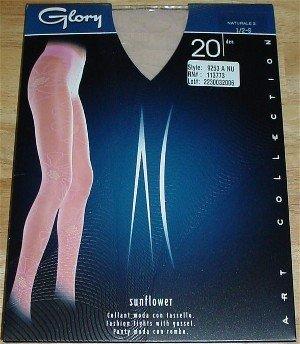 Glory Italian Sheer to Waist Floral Sunflower Design Nude Fashion Pantyhose #9253 ~ M/L 130-180 lb