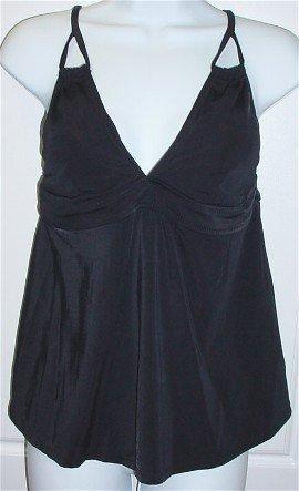 Liz Lange Maternity Ebony Black Tankini Swimsuit Bathing Suit Top #134173 ~ M Medium 8-10