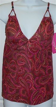 Liz Lange Maternity Brown Paisley Print Tankini Swimsuit Bathing Suit Top #134174 ~ S Small 4-6