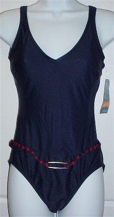 Jantzen One-Piece Navy Blue/Red Swimsuit Bathing Suit with Belt #34420 $74 ~ Ladies 8