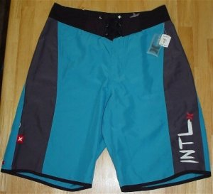 Hurley Blue/Black River Jettys Board Shorts Swim Trunks Swimsuit Bathing Suit ~ Youth Mens 28