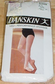 NEW Danskin Girls White Footed Dance Tights 58~ L/Large