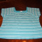 White and aqua stretchy t-shirt - 100% cotton - 3X