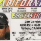 JEFF GORDON DRIVERS LICENSE