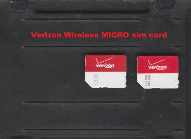 NEW Verizon Wireless MicroSim Card 4G LTE 3FF Micro SIM for Smartphone or Tablet VZW