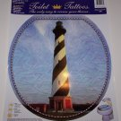 TOILET TATTOO Round Cling LIGHTHOUSE Cape Hatteras Ocean Bathroom Decor Rental Dorm