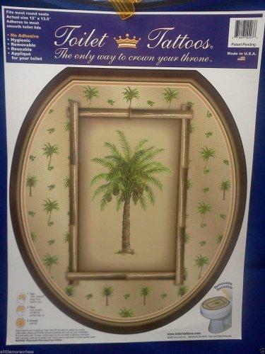 Toilet Tattoo Round Palm Tree Tropical Island Bahama