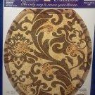 Toilet Tattoo Round Tuscany Brown Scroll Pattern Bathroom Decor Gold Tuscan Sun