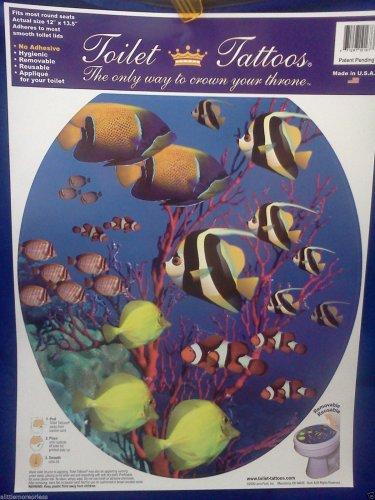 TOILET TATTOO Round Cling CORAL REEF Ocean Tropical Fish Bathroom Decor Rental Dorm