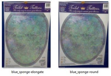 TOILET TATTOO Blue Sponge (resembles Fluorite Quartz) seat lid cling Bathroom Decoration Dorm Rental