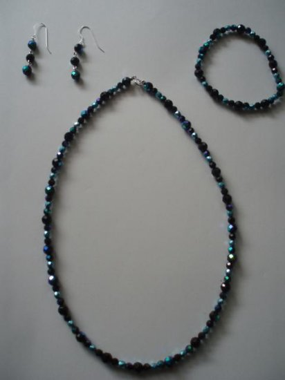 aurora borealis Celestial Crystal and Czech glass necklace, bracelet and earrings