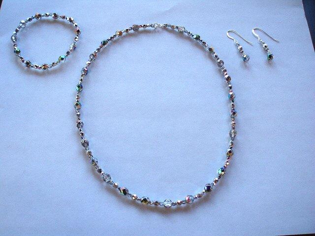 Czech Vitrail set bracelet, earrings and necklace
