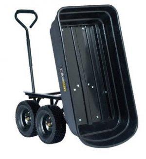 Gorilla 600lb Capacity Poly Dump Utility Cart Black Dump 10� Tires Wheel Barrow