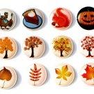 Autumn Fall Season - 12 Pcs Home Button iPhone iPad Decals Stickers 3D Semi-circular Bubble