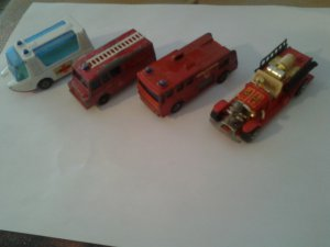 4 Original Match Box and Hot Wheels in played with condition.