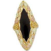 Black Hills Gold 25 X 7mm Black Onyx Beautiful Ladies Ring