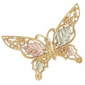 Black Hills Gold Brooch Butterfly Highly Detailed