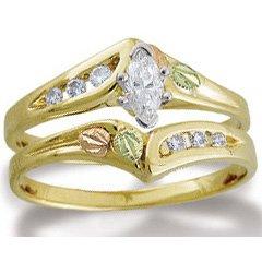 Black Hills Gold Marquise Diamond Wedding Set .32