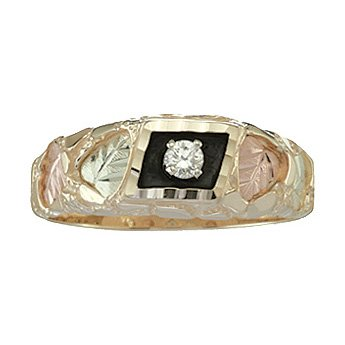 Black Hills Gold Ring Mens .10 Diamond
