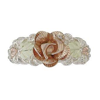 Black Hills Gold Ring Ladies Rose Design On Silver