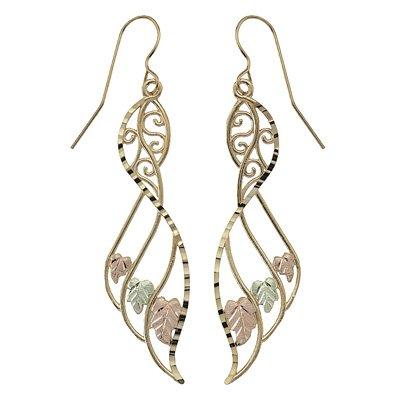 Black Hills Gold Earrings Fancy Dangle French Hook