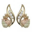 Black Hills Gold Earrings 3 Diamonds & 1 Leaf Post