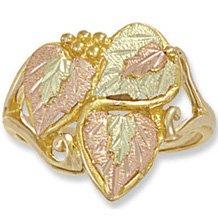 Black Hills Gold Small & Big Leaves Ladies Ring