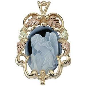 Black Hills Gold Necklace Angel Blue Agate Cameo