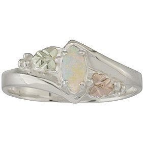 Black Hills Gold Ring Ladies And Opal On Sterling Silver