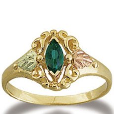 Black Hills Gold Genuine Marquise Emerald Ring