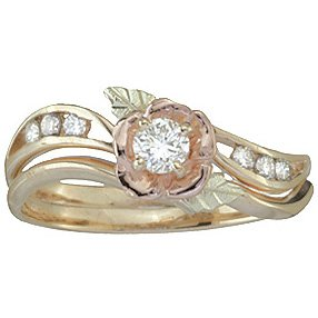 Black Hills Gold Ring Ladies Wedding Set Bridal Rose 7 Diamond .29 TDW