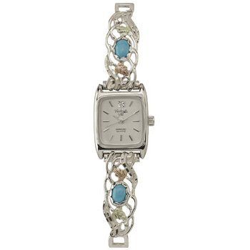 Black Hills Gold Warch Ladies Diamond Turquoise Silver