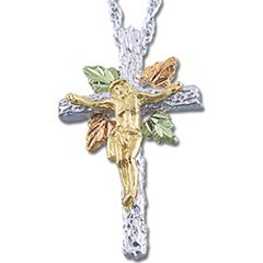 Black Hills Gold Sterling Silver Rugged Cross Crucifix Necklace
