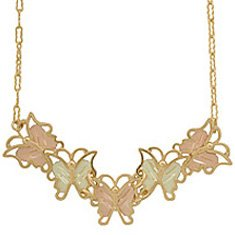 Black Hills Gold Necklace Butterfly 10K Gold Chain