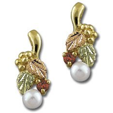 Black Hills Gold Ruby And Pearl Earrings