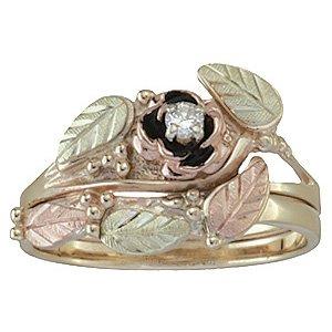Black Hills Gold Ring Ladies Wedding Set Bridal Rose Diamond