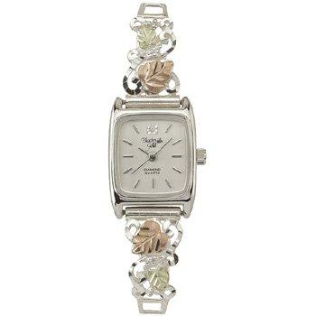 Black Hills Gold Watch Ladies Diamond & Sterling Silver