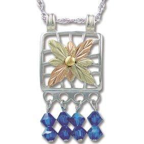 Black Hills Gold With Blue Swarovski Crystal Necklace