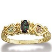 Black Hills Gold Oval Mystic Fire Topaz Ladies Ring
