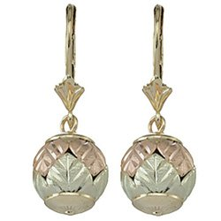Black Hills Gold Earrings Ball Of Leaves Leverback