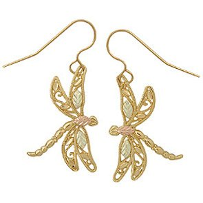 Black Hills Gold Earrings Dragonfly French Hook